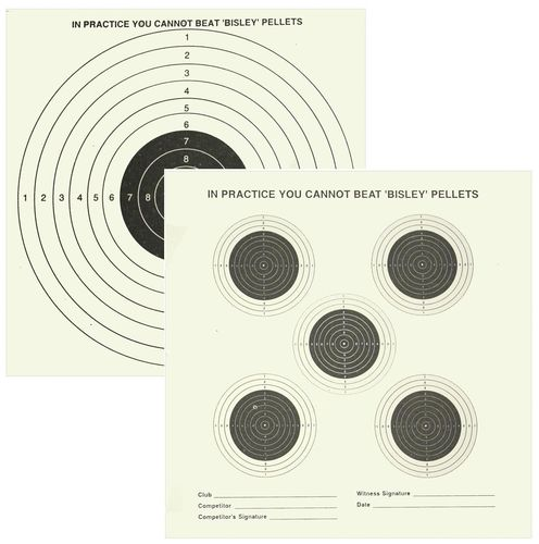 Bisley Grade 1 Double Sided Card Targets - 14cm