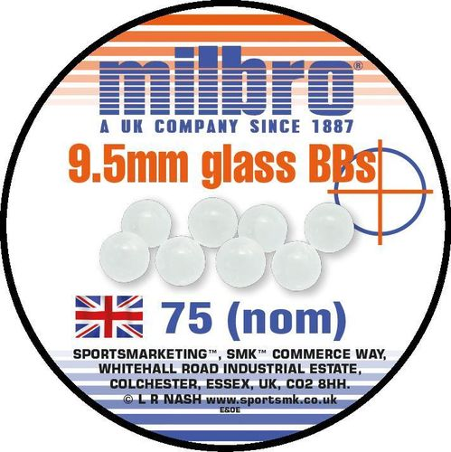 Milbro Slingshot Ammo - 9.5mm Glass