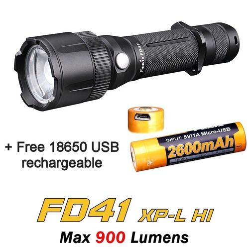 Fenix FD41 Focusing Torch with Free Fenix 2600 USB Battery