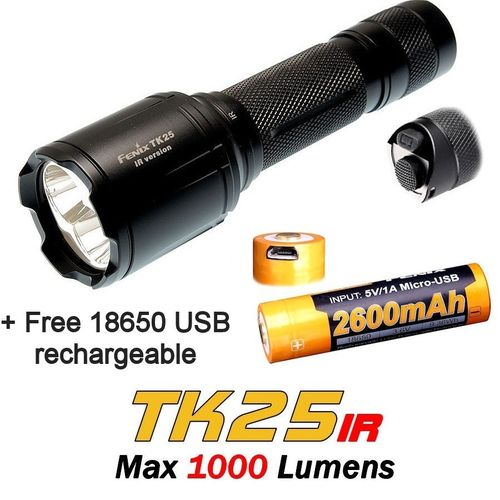 Fenix TK25IR White / IR Torch With Free Fenix 2600 USB Battery