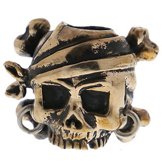 Lion ARMory Pirate Skull with Crossbones Bead in Brass