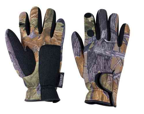 Jack Pyke English Oak Camo Neoprene Shooters Gloves