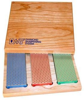"DMT Three Stone 6"" Diamond Whetstone Set in Hardwood Box - Extra Fine, Fine, Coarse W6EFC"