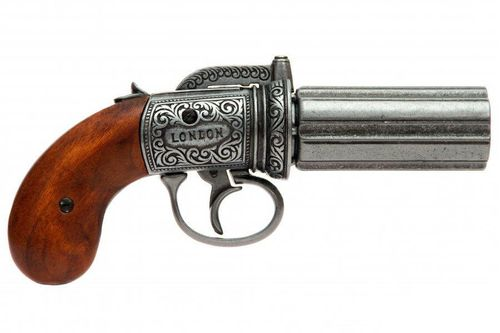 Denix 6 Barrel Pepper-Box Revolver, 1840 England 1071