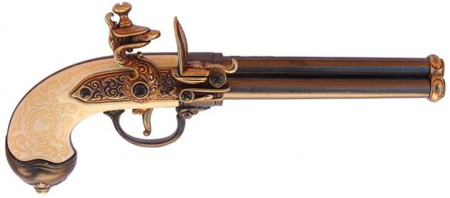 Denix Flintlock Italian 1680 Pistol with 3 Barrels 1016L